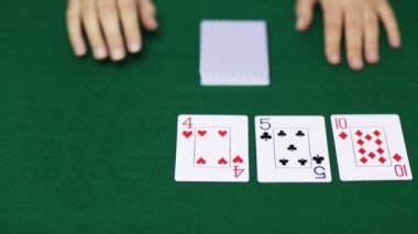 Holdem poker dealer with playing cards — Stock Video