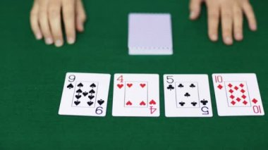 Holdem poker dealer with playing cards — ストックビデオ