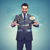 Businessman working with virtual screen — Stock Photo