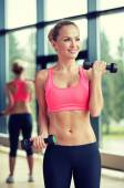 Young sporty woman with dumbbells flexing biceps — Stock Photo
