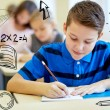 Group of school kids writing test in classroom — Foto Stock #61894645