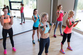 Group of women exercising with dumbbells in gym — Stock Photo
