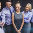 Business team with flip board having discussion — Stock Photo #62809297