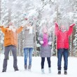 Group of happy friends playin with snow in forest — Stock Photo #63098621