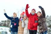 Happy friends waving hands on ice rink outdoors — Stock Photo