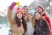 Happy friends taking selfie with smartphone — Stock Photo