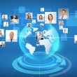 Pictures of businesspeople over world map — Stock Photo #63502869