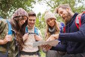Gruppo di amici sorridenti con zaini trekking — Foto Stock