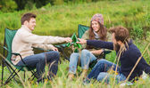 Group of smiling tourists drinking beer in camping — Stock Photo