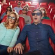 Friends watching horror movie in 3d theater — Stock Photo #64246345