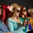 Happy woman with smartphone in 3d movie theater — Stock Photo #64246385