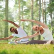 Happy couple stretching and doing yoga exercises — Stock Photo #64752767