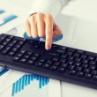 Woman hand pressing enter button on keyboard — Stock Photo #65164059