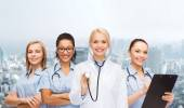 Team or group of female doctors and nurses — Stock Photo