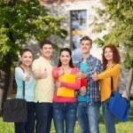 Skupina usměvavá teenagerů ukazuje palec — Stock fotografie #66075213