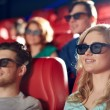 Friends watching movie in 3d theater — Stock Photo #66817625