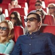 Friends watching horror   in 3d theater — Stock Photo #66817639