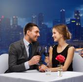 Couple on romantic date in restaurant — Stock Photo