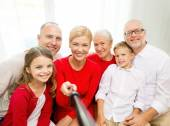 Family making selfie at home — Stock Photo