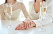 Happy lesbian couple with champagne — Stock Photo
