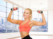 Smiling woman with dumbbells in gym — Stock Photo