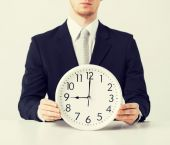 Man with wall clock — Stock Photo