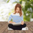 Happy little student girl with tablet pc — Stock Photo #67241431