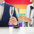 Close up of male gay couple with champagne glasses — Stock Photo #67241453