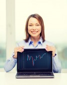 Businesswoman with blank black laptop screen — Stock Photo