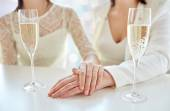 Close up of lesbian couple with champagne glasses — Stock Photo