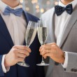 Close up of male gay couple with champagne glasses — Stock Photo #67993683