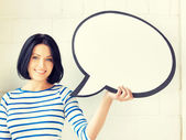 Happy teenage girl with blank text bubble — Stock Photo