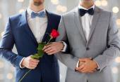Close up of happy male gay couple holding hands — Stok fotoğraf