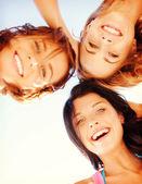 Twarze dziewczyn z odcieniami patrząc w dół — Zdjęcie stockowe