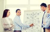 Team aziende discutendo qualcosa in ufficio — Foto Stock