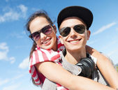 Teenagers having fun outside — Foto Stock