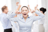 Angry screaming businesswoman — Stock Photo