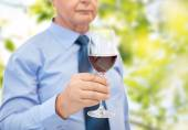 Close up of senior man holding glass with red wine — Stock Photo