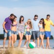 Group of happy friends walking along beach — Stock Photo #68959701