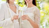 Close up of lesbian couple with champagne glasses — ストック写真