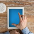 Close up of male hands with tablet pc and coffee — Stock Photo #69307177