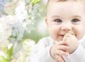 Closeup of happy baby boy or girl — Stock Photo