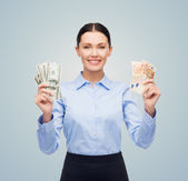 Businesswoman with dollar and euro cash money — Stock Photo