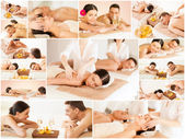 Happy family couple in spa salon — Stock Photo