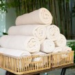 Rolled bath towels at hotel spa — Stock Photo #70012325