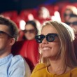 Happy friends watching movie in 3d theater — Stock Photo #70200423