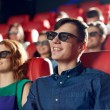 Happy friends watching movie in 3d theater — Stock Photo #70200431