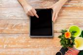 Close up of woman or gardener with tablet pc — Stock Photo