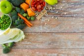 Close up of ripe vegetables on wooden table — Stock Photo