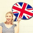 Smiling woman with text bubble of british flag — Stock Photo #71192773